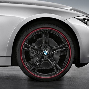 BMW Alufelge Doppelspeiche 361 8,5J x 20 ET 47 Bicolor (Schwarz mit rotem Felgenring) Hinterachse für 3er F30 F31 4er F32 F33 F36