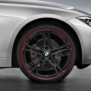 BMW Alufelge Doppelspeiche 361 8J x 20 ET 36 Bicolor (Schwarz mit rotem Felgenring) Vorderachse für 3er F30 F31 4er F32 F33 F36
