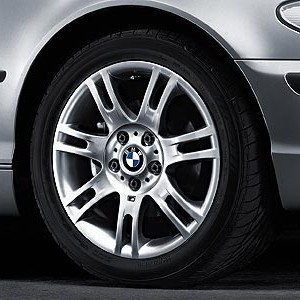 BMW Alufelge M Doppelspeiche 97 8,5J x 17 ET 50 Silber Hinterachse BMW 3er E46