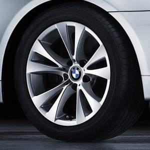 BMW Alufelge V-Speiche 277 silber 8J x 17 ET 20 Vorderachse / Hinterachse 5er E60 E61 ohne xDrive