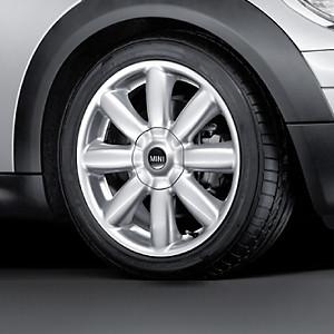 MINI Alufelge Crown Spoke 104 7J x 17 ET 48 Silber Vorderachse / Hinterachse MINI R50 MINI Cabrio R52 R57 MINI R53 R56 MINI Clubman R55 MINI Coupe R58 MINI Roadster R59