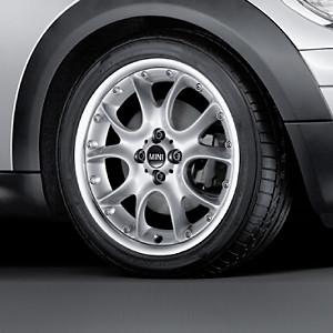 MINI Alufelge Web Spoke Composite 98 7J x 17 ET 48 Silber Vorderachse / Hinterachse MINI R50 MINI Cabrio R52 R57 MINI R53 R56 MINI Clubman R55 MINI Coupe R58 MINI Roadster R59