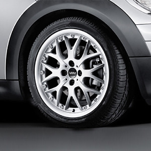 MINI Alufelge Cross Spoke 90 6,5J x 16 ET 48 Silber Vorderachse / Hinterachse MINI R50 MINI Cabrio R52 R57 MINI Clubman R55 MINI R56 MINI Coupe R58 MINI Roadster R59