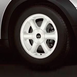 MINI Alufelge Rotator Spoke 101 5,5J x 15 ET 45 Weiß Vorderachse / Hinterachse MINI R50 MINI Cabrio R52 R57 MINI R53 R56 MINI Clubman R55