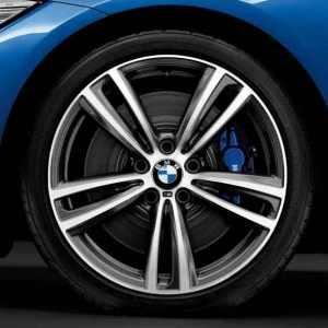BMW Alufelge M Doppelspeiche 442 bicolor (ferricgrey/glanzgedreht) 8,5J x 19 ET 47 Hinterachse 3er F30 F31 4er F32 F33 F36