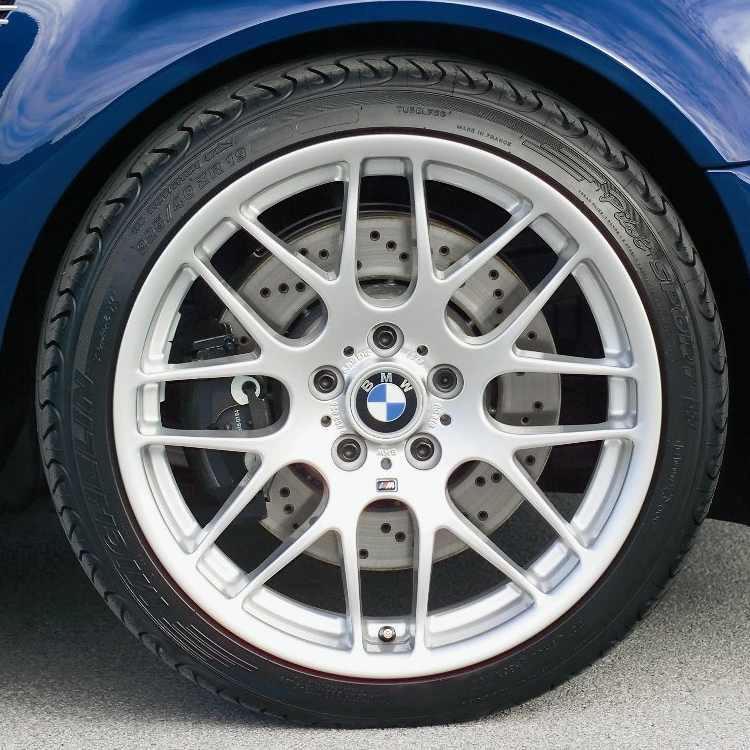 BMW Alufelge M Kreuzspeiche 163 9,5J x 19 ET 27 Silber Hinterachse 3er E46