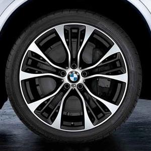 BMW Kompletträder M Doppelspeiche 599 bicolor (schwarz matt / glanzgedreht) 21 Zoll X3 F25 X4 F26 RDC LC