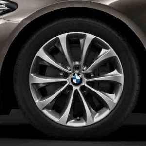 BMW Alufelgen Turbinenstyling 452 silber glanzgedreht 8J x 18 ET 30 Vorderachse / Hinterachse 5er F10 F11 6er F06 F12 F13