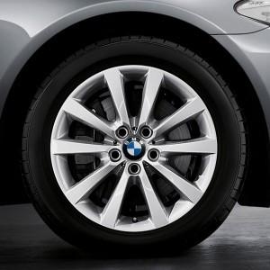BMW Winterkompletträder V-Speiche 328 silber 18 Zoll 5er F10 F11 6er F06 F12 F13 RDC LC