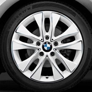 BMW Alufelge V-Speiche 412 7,5J x 17 ET 43 bicolor (alpinweiss / glanzgedreht) Vorderachse / Hinterachse BMW 1er F20 F21 2er F22 F23