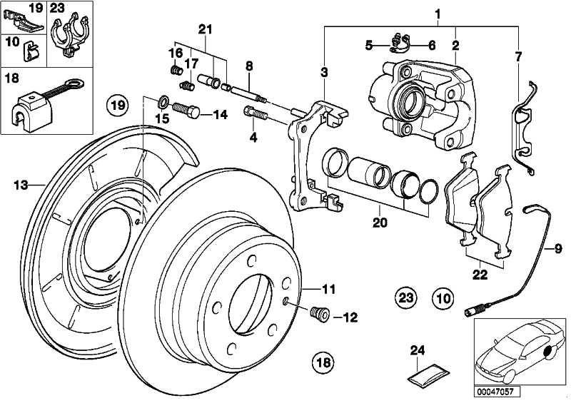 ATE Feder Bremssattel 11.8116-0066.1 für BMW MG E46 E30 E36 E90 E81 E87 Z4 X1 Z1