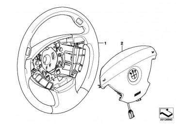 Sportlenkrad Airbag Leder Multifunktion BLAU            7er  (32346783493)
