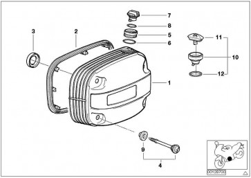 Zylinderkopfhaube mit Schriftzug rechts SILBER           (11127665290)