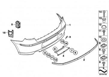 Verkleidung Stossfänger lackiert hinten CODE - UNI/MET. 1er  (51120035911)
