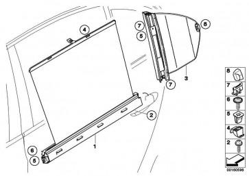 Sonnenschutzrollo Tür hinten links  5er  (51356984645)