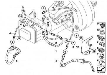 Rohrleitung mit Druckschlauch M12/M12         1er 3er  (34326853513)