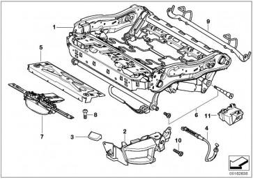 Mechanik Oberschenkelauflage  5er X5 X6 7er  (52107143536)
