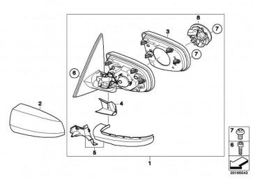 Abdeckkappe Aussenspiegel lackiert li. CODE - UNI/MET. X5 X6  (51160430327)