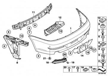 Verkleidung Stossfänger grundiert hinten PDC             6er  (51127184664)