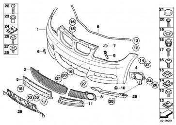 Verkleidung Stossfänger lackiert vorn CODE - UNI/MET. 1er  (51110036221)