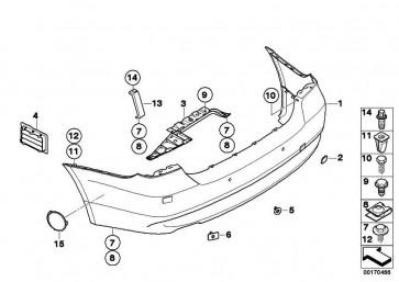 Verkleidung Stossfänger lackiert hinten CODE - UNI/MET. 3er  (51120036874)