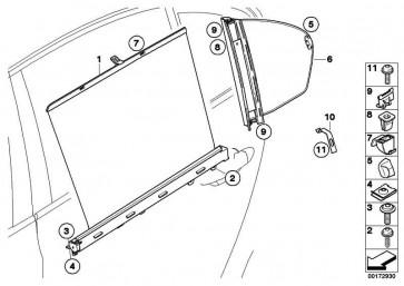 Sonnenschutzrollo Tür hinten links SCHWARZ         5er  (51427079391)