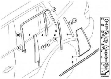 Blende C-Säule Tür hinten rechts GLANZSCHWARZ    X3  (51353427668)