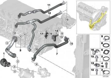 Leitung Motorvorlauf-Kühlmittelpumpe  1er 3er 5er 6er 7er X1 X3 Z4  (11537516414)
