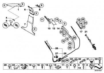 Verkleidung Säule hinten links GRAU            5er  (51437149899)