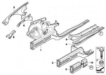 Teilabschnitt Motorträger rechts BASIS           1er 3er X1  (41117135614)