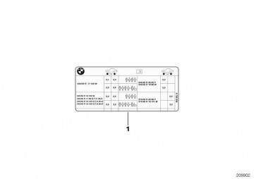Hinweisschild Reifendruck MJ11 3er  (71246850085)