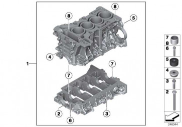 Zylinder-Kurbelgehäuse mit Kolben  X1 Z4 5er X3 3er 1er 4er 2er X4 X5 X6  (11112357458)