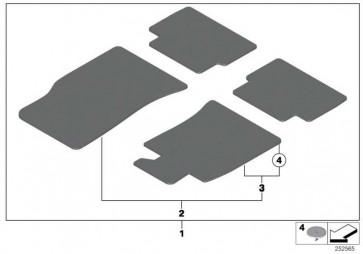 Satz Fussmatten Velours Einfassung grau CARBON BLACK MINI  (51477324841)
