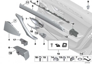 Blende Lautsprecher rechts SCHWARZ 5er  (51427318820)