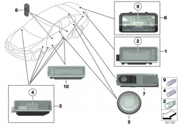 Innenleseleuchte hinten links SCHWARZ         5er X3 X4  (63319202921)