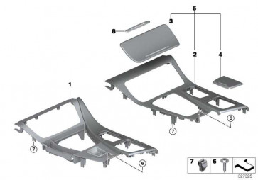 Blende Mittelkonsole Aluminium HEXAGON         5er  (51168059635)