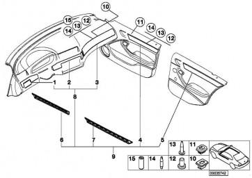 Dekorleiste Instrumententafel Mitte MOONGREY        3er  (51457116974)