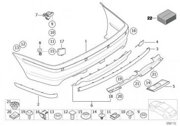 Verkleidung Stossfänger lackiert hinten CODE - UNI/MET. 3er  (51120134570)