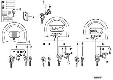 Generalschlüssel mit Fernbetätigung 315MHZ 3er  (51218374931)