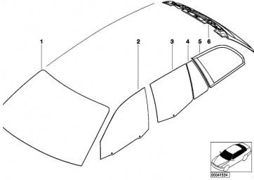 Türscheibe Sonnenschutzglas fest links  3er  (51347008061)