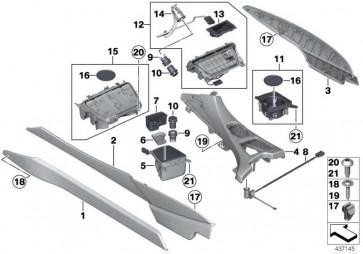 Verkleidung Mittelkonsole vorne links SCHWARZ         6er  (51169238171)