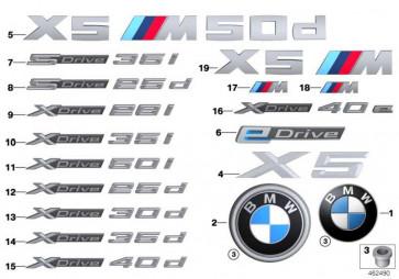 Schriftzug X DRIVE 25D     X5  (51147345057)