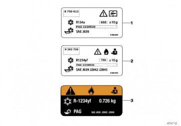 Hinweisschild Kältemittel 520+/-10G       X3  (71239231796)