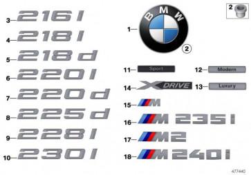 Emblem geklebt hinten - M240I - 2er  (51148067074)