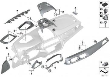 Blende I-Tafel Alu Carbon dkl. Fahrer SCHWARZ CHROM (51458070547)