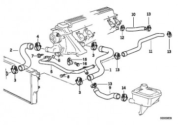 Schlauch Heizkörper-Motorrücklauf                 3er  (11532245117)
