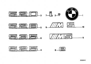 """Emblem geklebt """"525""""           5er  (51141946162)"""