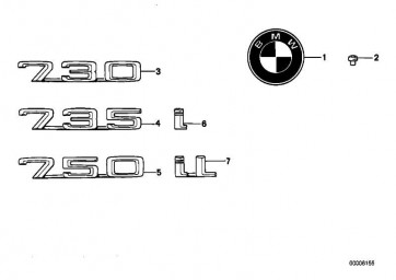"""Emblem geklebt hinten """"750""""           7er  (51141969466)"""