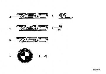 """Emblem geklebt hinten """"750""""           7er  (51148136272)"""