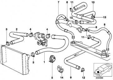 Schlauch Motorvorlauf-Wasserventil  7er 5er  (64211390934)